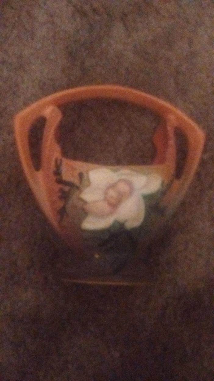 Vintage Roseville Pottery Brown Magnolia Planter Basket Vase 383-7