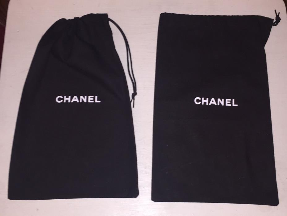 2 x CHANEL Cotton Dust Bags Shoe Bags Black - 12.5