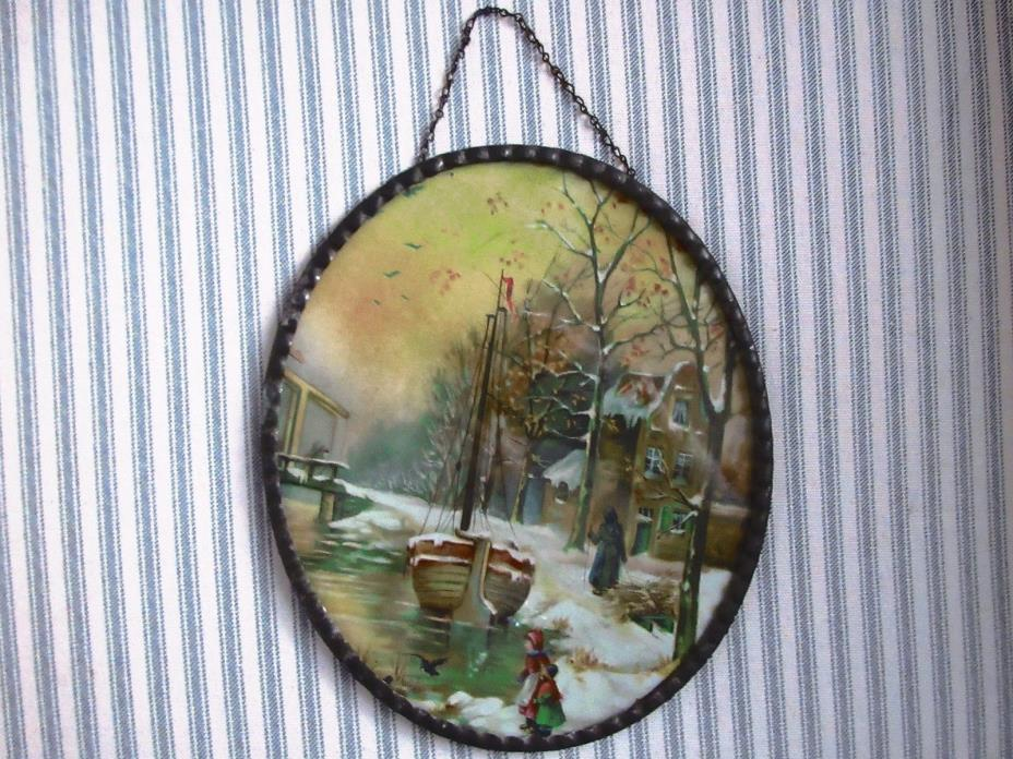 Antique Winter Scene Flue Cover & Chain-Snow -Sunset- Boat- Oval Pie Crust Frame