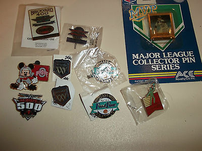 10 SPORTS PINS FROM BASKETBALL,FOOTBALL,NASCAR,BASEBALL AND OLYMPICS