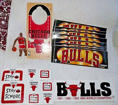 CHICAGO BULLS LOT Michael Jordan Figure + Doorknob Hanger & 9 Bumper Stickers