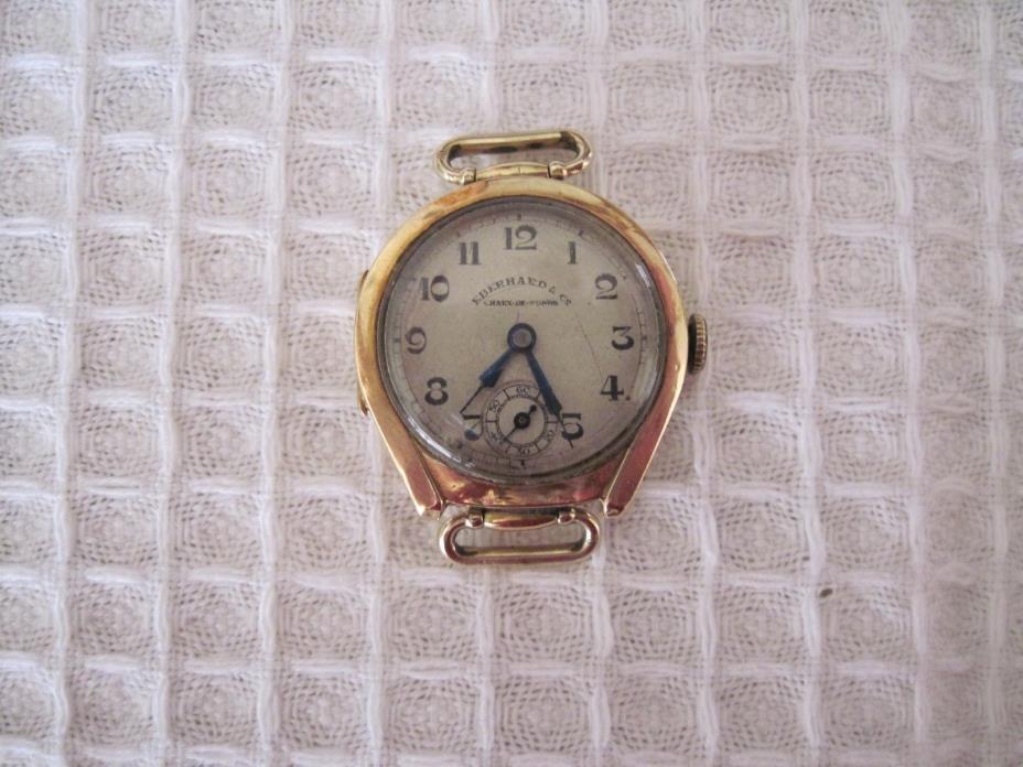 Vintage 1920s Eberhard & Co 18K (750) Gold Chaux De Fonds 15 Jewel Watch