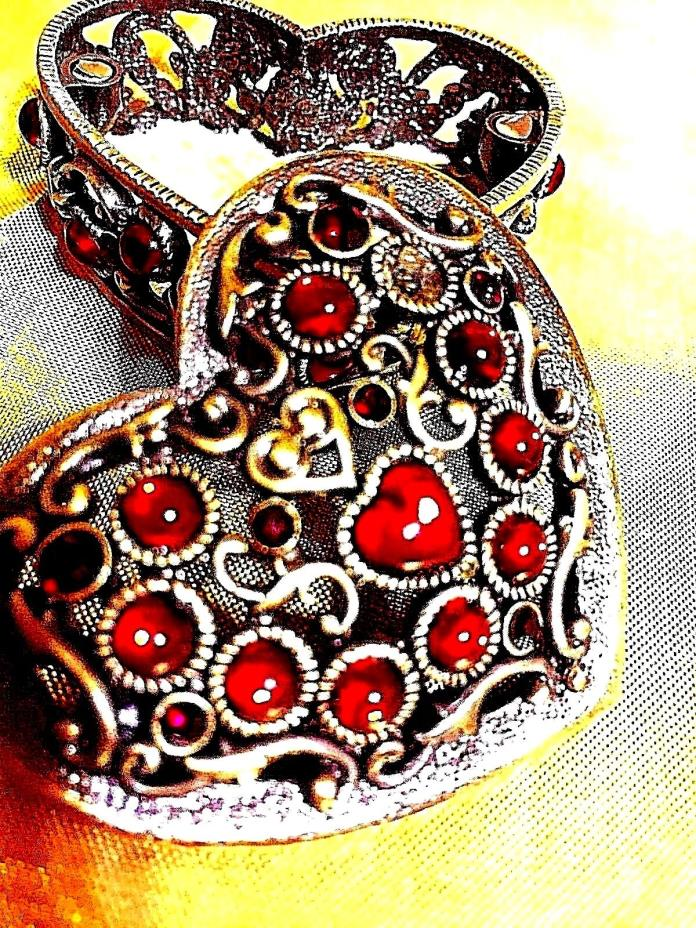 Trinket Box Heart shaped Antiqued gold finish RED crystals scroll work red