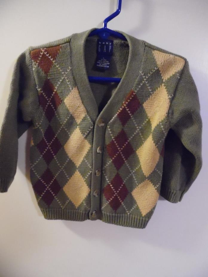2 Sweaters (1) Baby Gap size 12/18 month cardigan green tan & Pullover brown