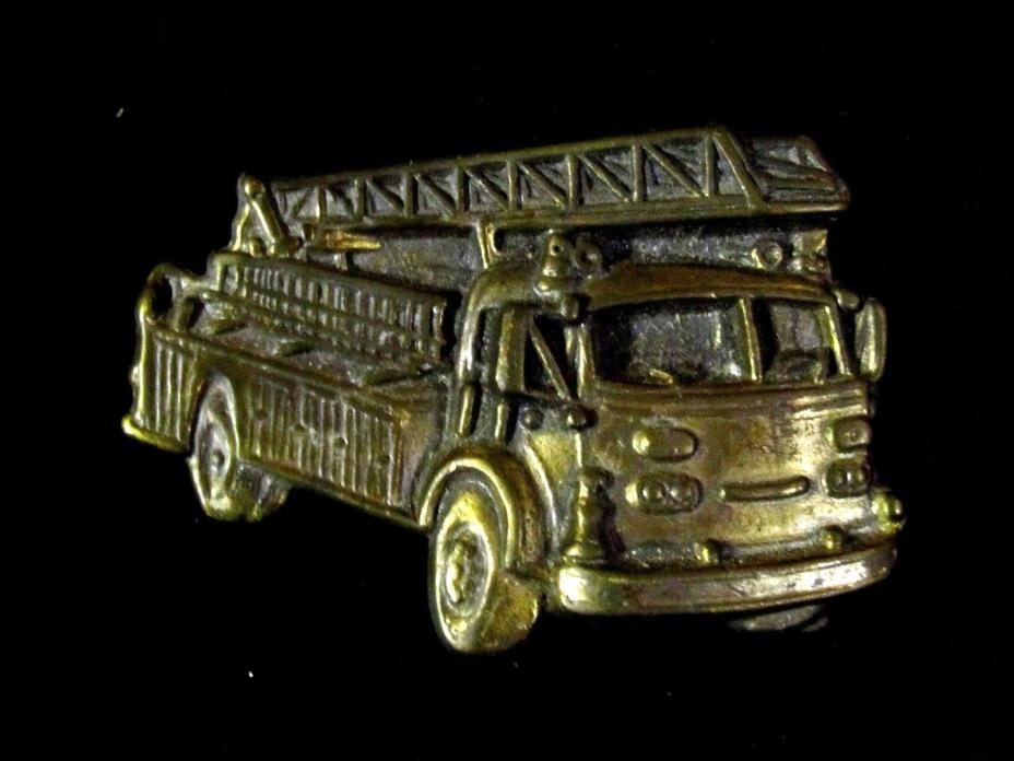 VINTAGE CUT OUT FIRE TRUCK BELT BUCKLE