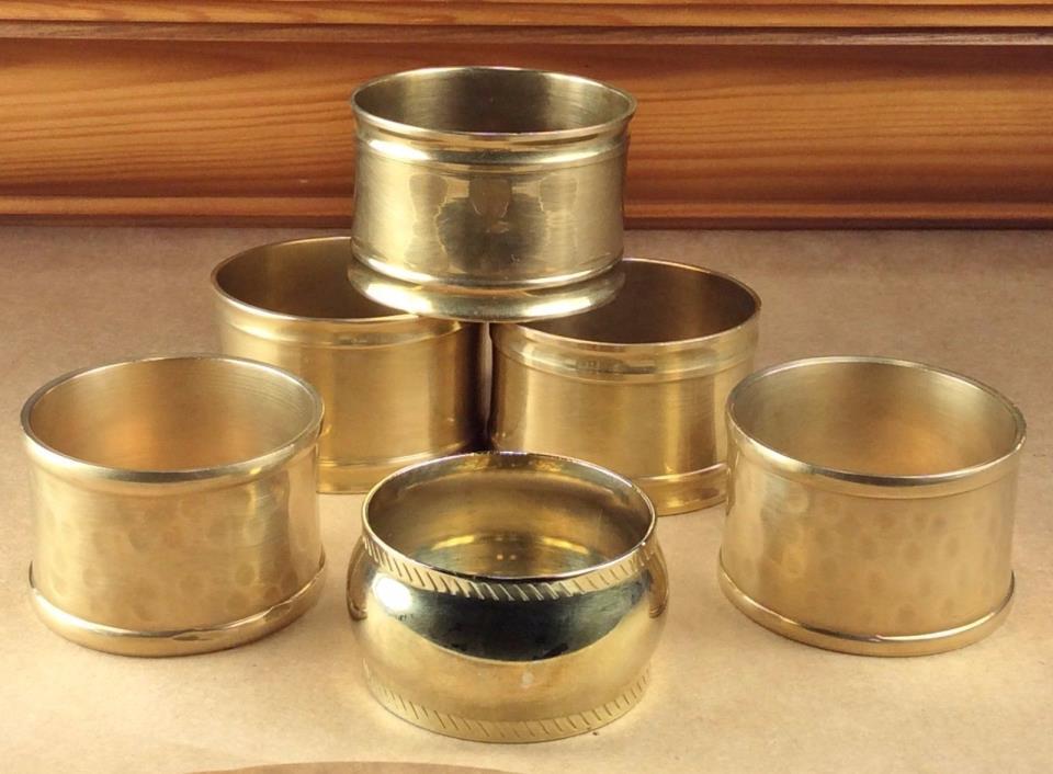 VTG Brass Napkin Ring Lot/6 Hammered Brass (2), Oblong (3), Single Round (1)