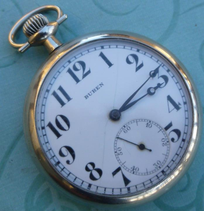 Vintage Buren Swiss 17 Jewel Pocket Watch / Runs Great