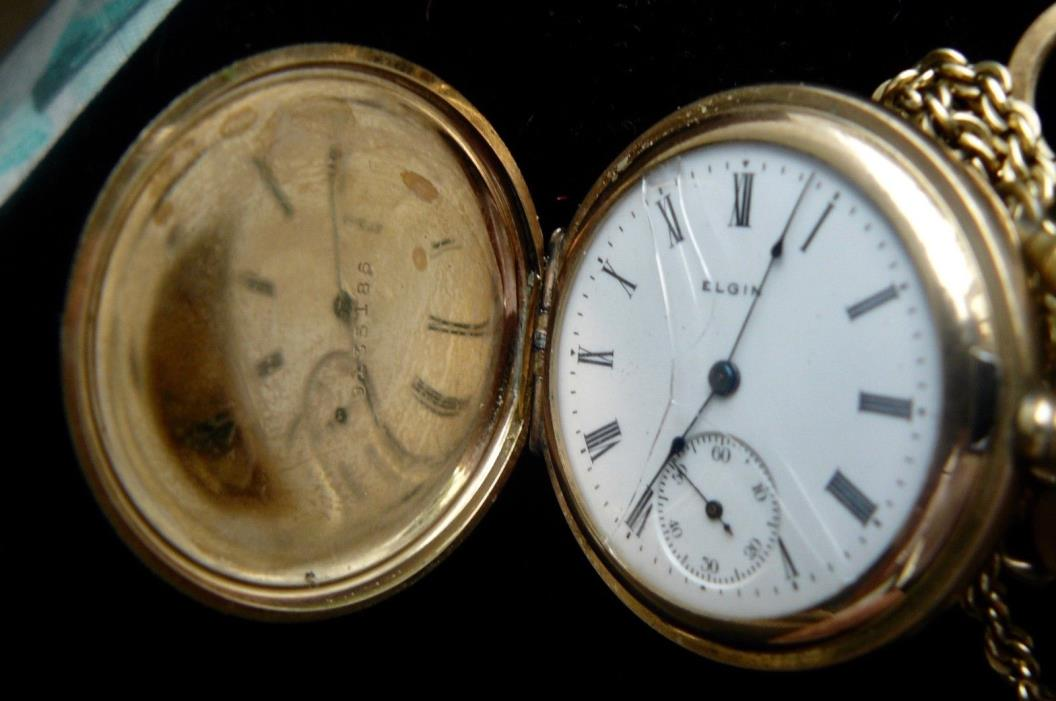 antique pocket watch .. 1909 ELGIN..size 6 ..7jewel ..gilded movement .. grade 2