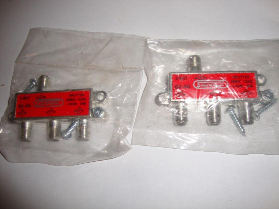 LOT OF 2 Signal Vision 1 GHz Digital 3-Way Coax Splitter SV-3G