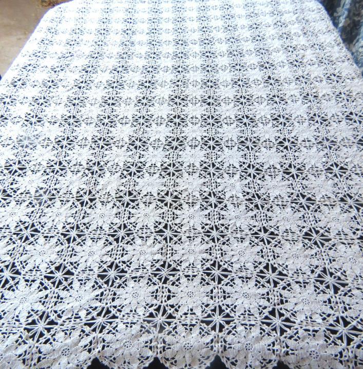 Vintage 100% Cotton Tablecloth Crochet Lace Beige 48x60 Rectangle