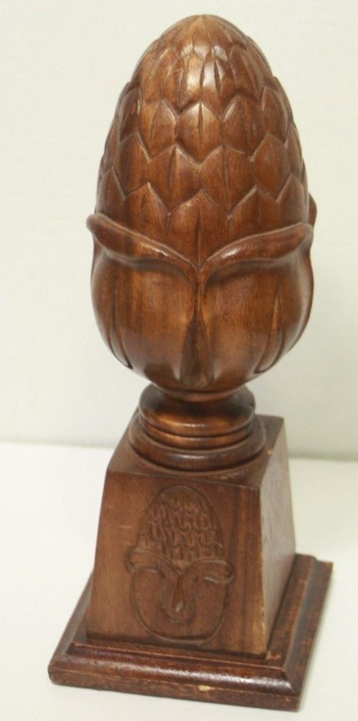 Vintage Large Wooden Pineapple Decorative Finial Made In Phillipines