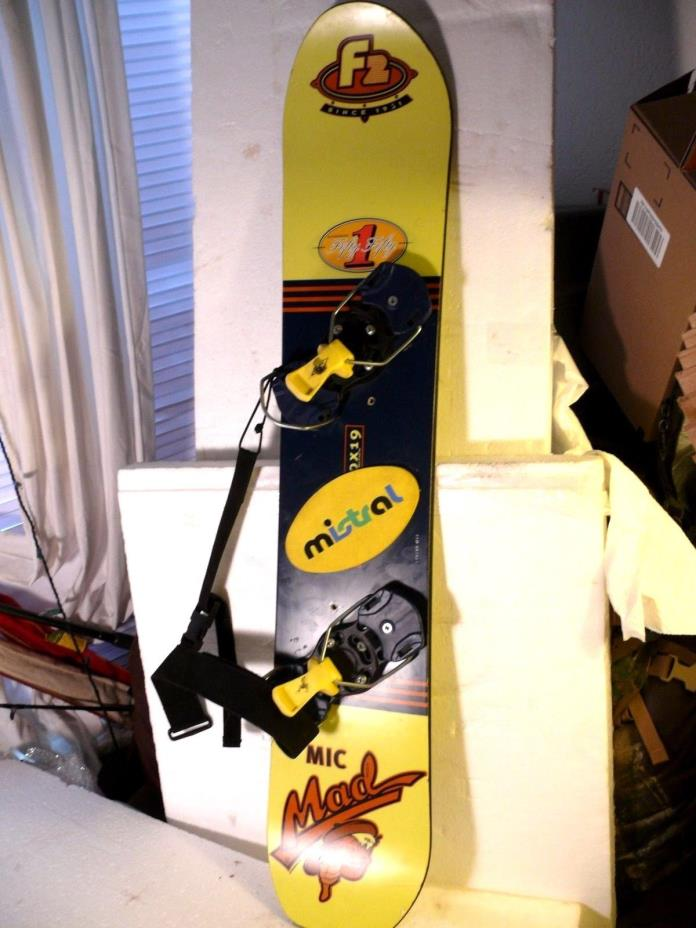 YOUTH SNOWBOARD F2 MIC MAD W/BINDINGS 110CM  AWESOME CONDITION MADE IN AUSTRIA