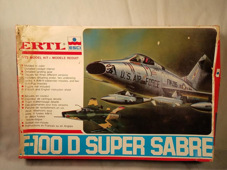 ESCI 1/72 F-100D SUPER SABRE MODEL KIT #8557 NIOB