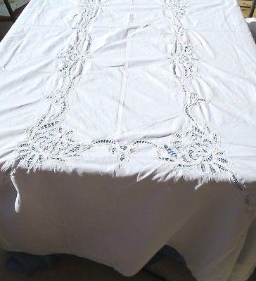 Vintage Cotton Tablecloth 65x100 Rectangle Battenburg Lace White Floral