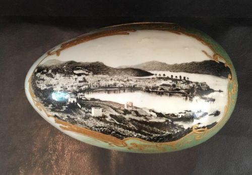 Antique Porcelain Covered Egg Box 6-1/2