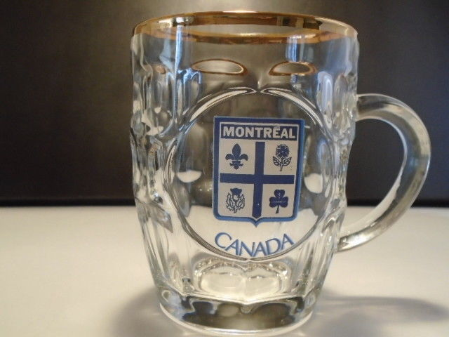 Montreal Canada Beer Mug Heavy Glass Souvenir Made in France