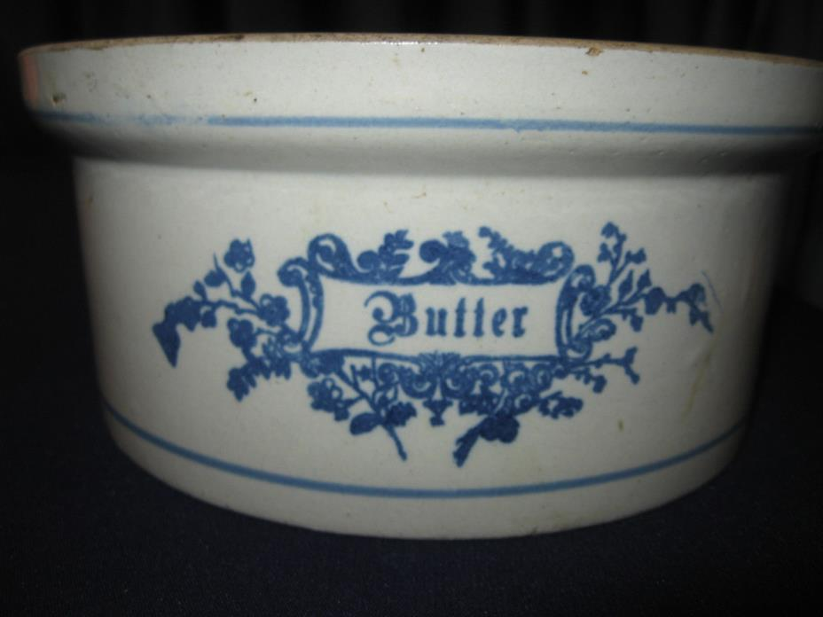 Antique Vintage Stoneware Butter Crock Salt Glaze Blue BorderFloral Rose Pattern
