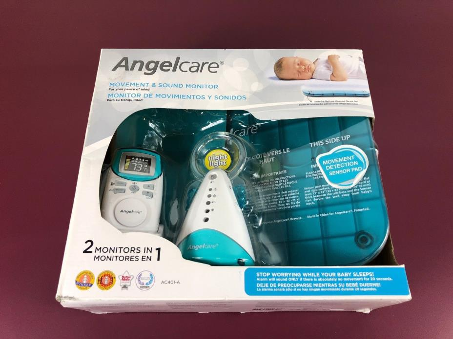 Angelcare Movement Sensor Pad and Sound Monitor AC401-A Night Light White/Aqua