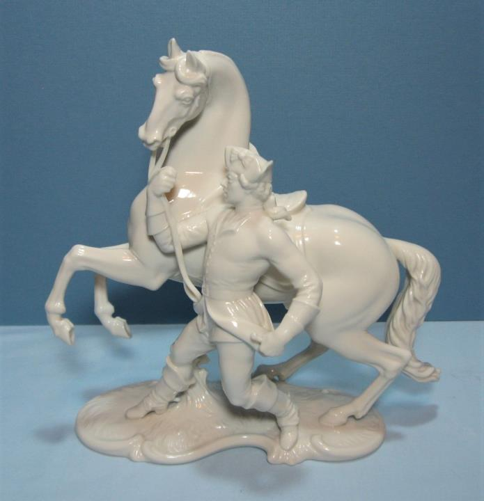 Nymphenburg Porcelain Rider with Horse Figurine 552