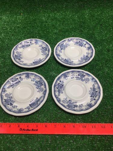 Lot Of 4 Vintage Staffordshire Ironstone Saucer Kensington Balmoral England Blue