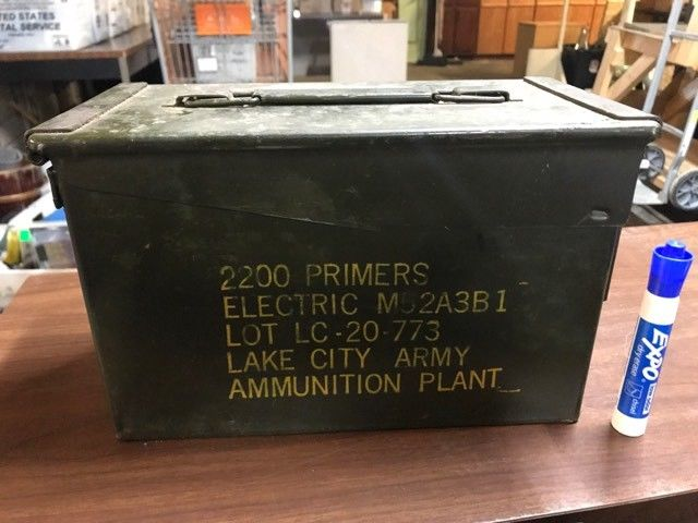 Military Vintage Ammo Box Can Storage 2200 Primers METAL Grissom AFB