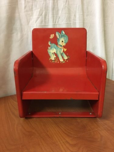 VINTAGE RED METAL CHILDS CHAIR BOOSTER SEAT