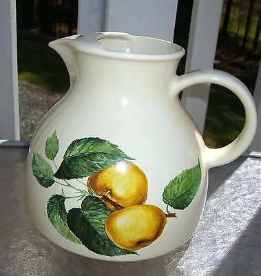 2 QT Pitcher ITALY AMBROGIO POZZI Stoneware Pottery Ice Lip ROMANIA Apple Design