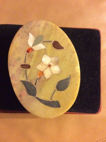 Vintage Oval Stone (Marble?) Trinket Box With Floral Inlay Made In India