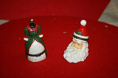 2 Porcelain Hinged Trinket Boxes Santa Claus Jolly Santa and a Dress