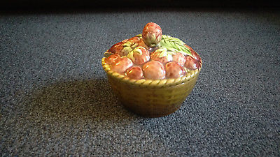 Antique Sarreguemines France - Faience Figural Fruit Basket Covered Dish Box