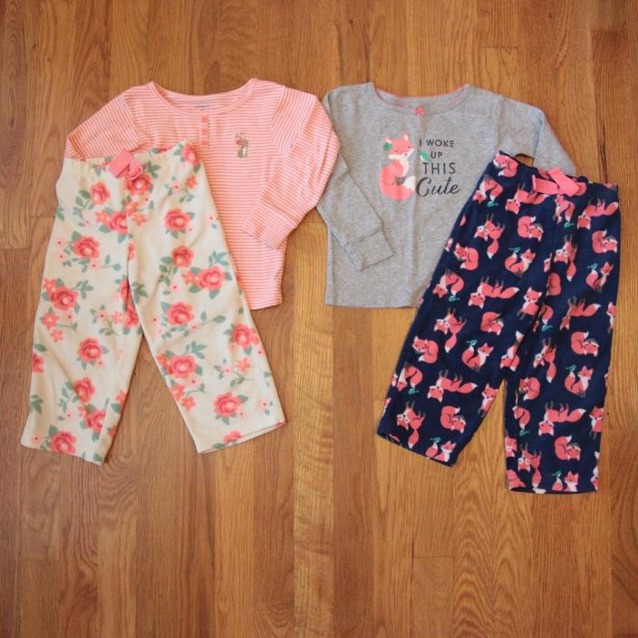 2 Pair Carters Pajamas | Cotton top, fleece bottoms | Size 2T | EUC!