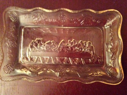 Beatiful Vintage Pink Glass Tray Of Ten Commandments