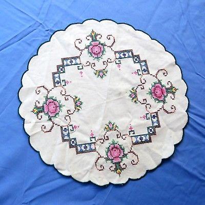 Vintage Cotton Doily Cross Stitch Rose Beige 13