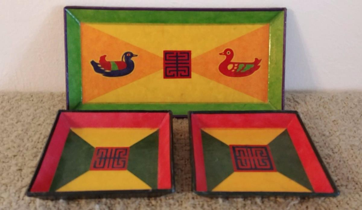 Vintage Set of 3 Asian Paper Mache Snack Plates - Ducks Rectangle & Square