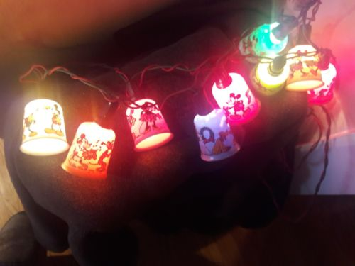 C6MICKEY MOUSE NOMA/MAZDA CHRISTMAS LIGHTS Antique Walt Disney WORKING9LAMP SET!