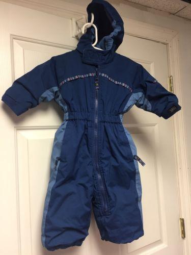 REI Snowsuit Baby Boys Winter Sz 12 M Months Warm Fleece Lined Blue Snow Suit