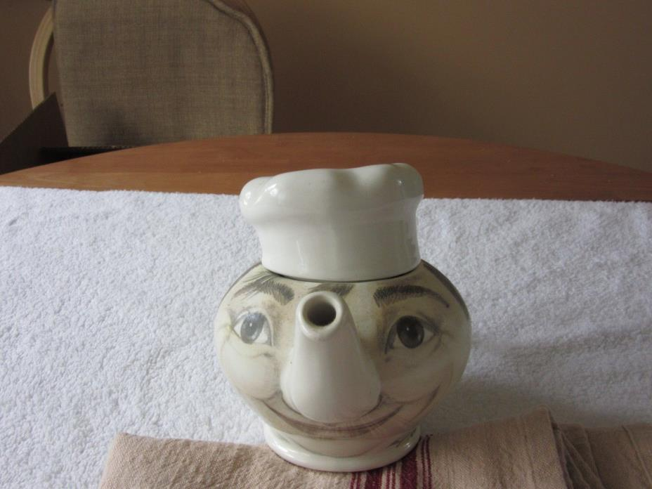vintage teapot with chefs face and hat