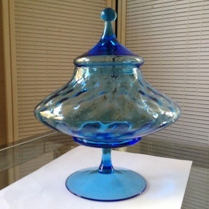 Vintage Empoli Optic Turquoise Compote Apothecary Jar Circus Tent Flying Saucer