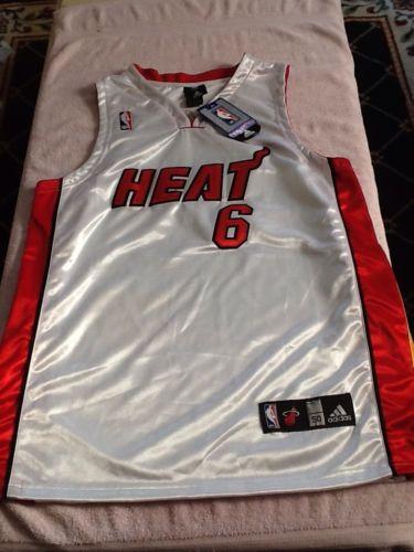 LeBron James 6 Miami Heat Adidas NBA Eastern White Red Basketball Jersey 50. NWT
