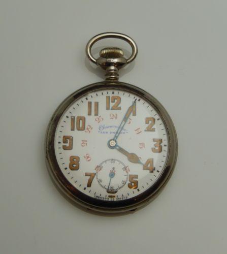Les Poilus Chronometre Vintage Swiss Silver Tone Case Pocket Watch