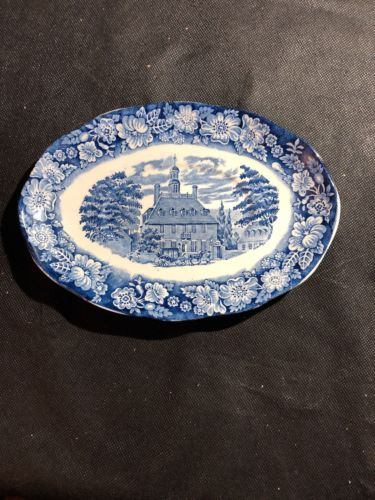 Liberty Blue Historic Colonial Scenes Oval Plate