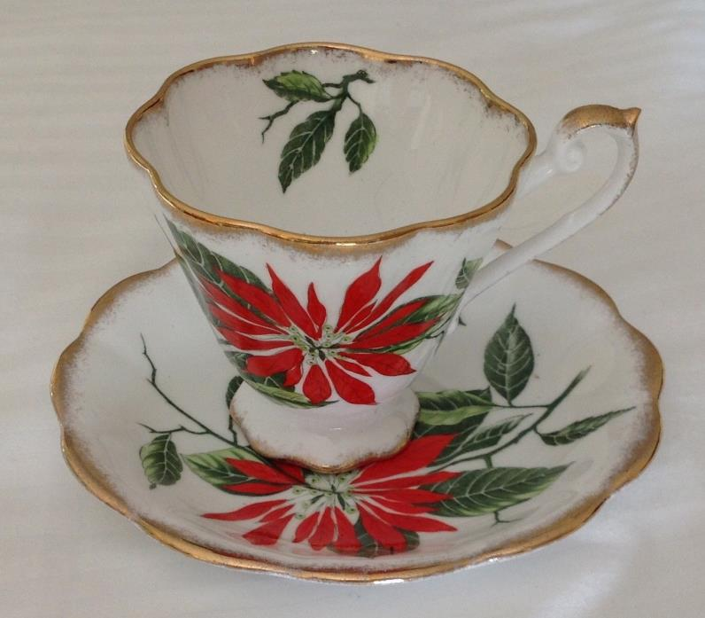 POINSETTIA Teacup & Saucer Royal Standard Fine Bone China  Footed Cup England