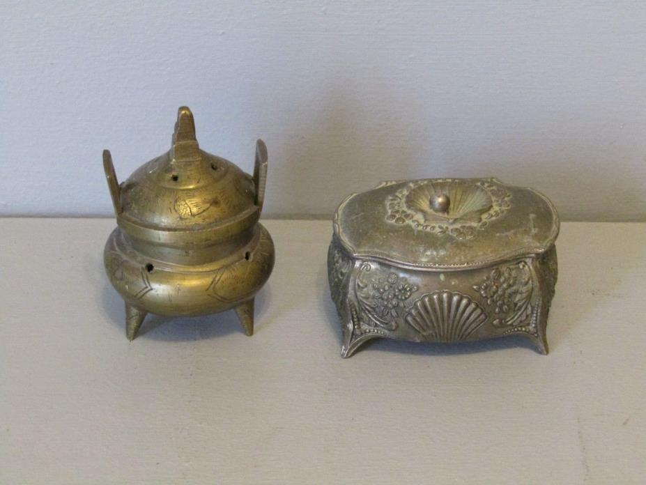 Vintage Brass Jewelry Box & Incense Oil Burner ~ Lot of 2