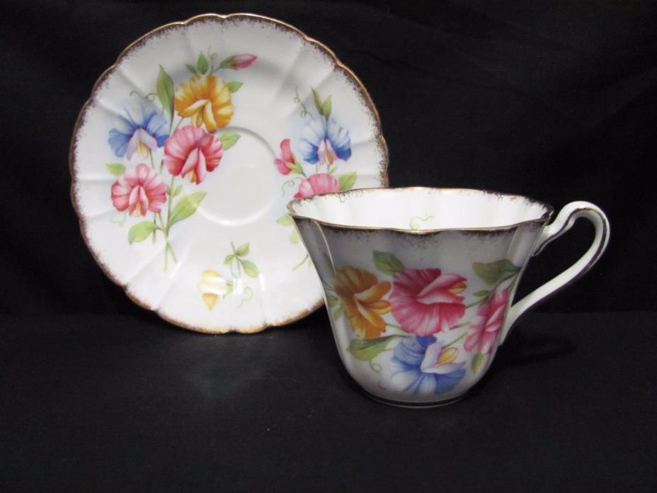 Royal Stafford SweetPea flowers & gold Fluted Tea Cup & Saucer England