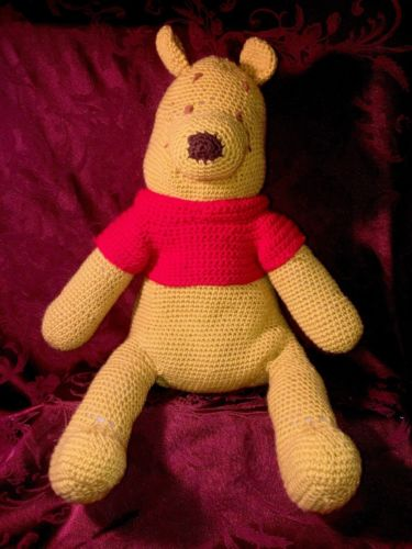 Vintage Knitted Winnie The Pooh Doll NOT Disney Excellent /plush Stuffed animal