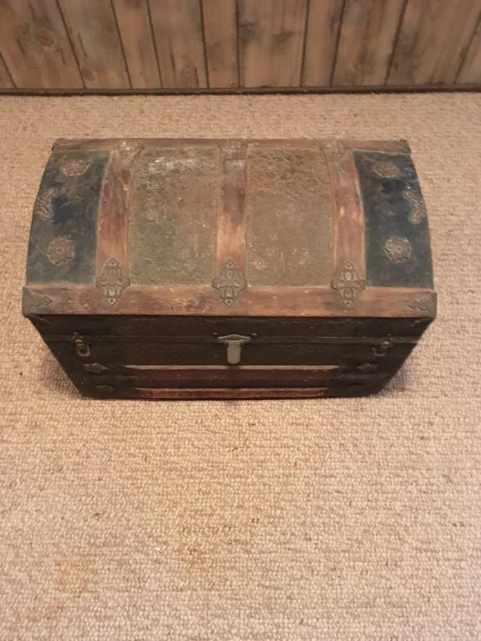 Vintage Wooden Treasure Storage Chest Box Trunk Furniture Leather Panther