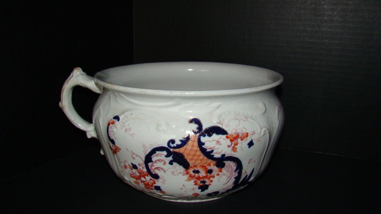 Antique Upper Hanley England Semi Porcelain Chamber Pot Daisy Pattern