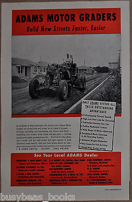1951 ADAMS Motor GRADER advertisement, Canadian advert, old suburb construction