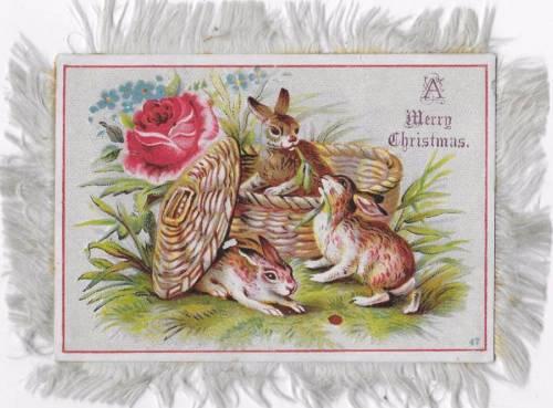ANTIQUE SILK FRINGE CARD VICTORIAN BUNNY RABBITS, WICKER BASKET, CHICKS c1880's