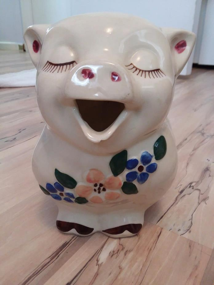 1940s Old Antique Vintage BIG SHAWNEE POTTERY SMILEY PIG Pitcher